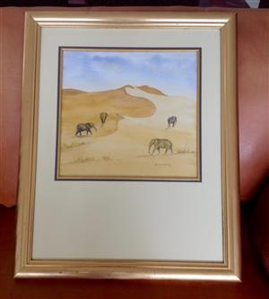 Wall art, Elephants in the desert with a beautiful gold frame
