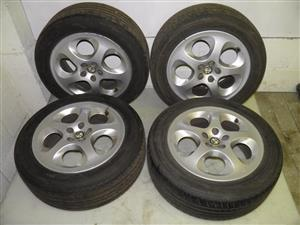 ALFA ROMEO 147 16INCH MAGS WHEELS WITH TYRES for sale   @ PRETORIA ALPHAYARD     CONTACT: 0764278509     WHATSAPP: 0764278509     TEL: 012 753 0656