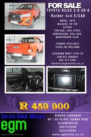 2019 Toyota Hilux 2.8GD 6 Xtra cab 4x4 Raider