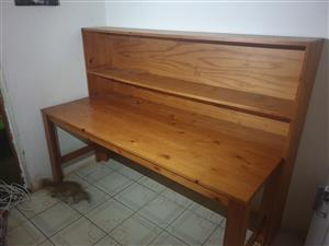 Wooden Desk and accompanying Shelving