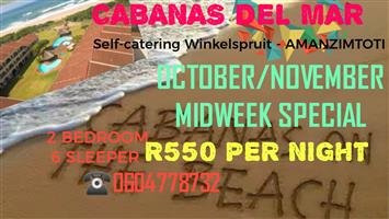 OCTOBER /NOVEMBER MIDWEEK SPECIAL, 2 BED, SELF-CATERING-WINKELSPRUIT-AMANZIMTOTI, 24 HR SEC, GROUND FLOOR, ON THE BEACH