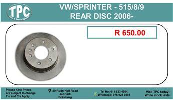 Vw LT35/46 / Sprinter-416 Rear Disk 2000- For Sale.
