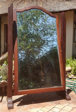 Large Antique Free Standing Umbuia Mirror for Sale