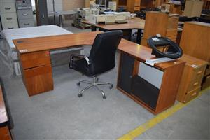Wooden L shape office desk and chair