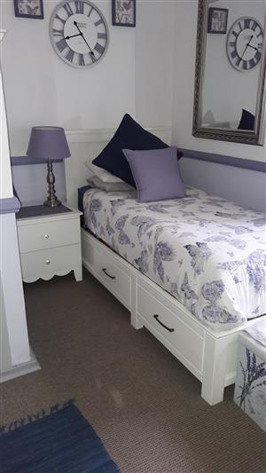 Bedroom furniture for sale: desk, headboard + base, chest of drawers, pedestal