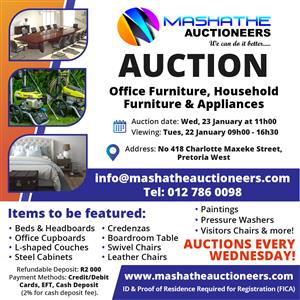 We Auction the best office furniture in the area:Office Desks,Office Chairs,Boardroom Table and Chairs,Filing Cabinets,Credenzas
