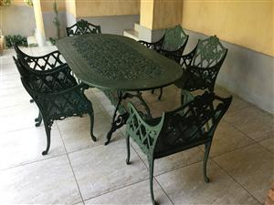 6 seater cast iron garden furniture