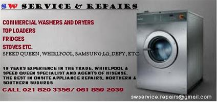 ONSITE APPLIANCE REPAIRS with SW SERVICE & REPAIRS SPEED QUEEN,WHIRLPOOL, LG SAMSUNG ETC.