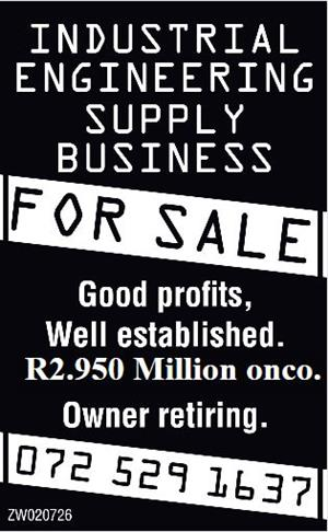 INDUSTRIAL ENGINEERING SUPPLY BUSINESS FOR SALE