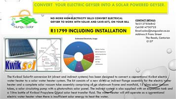No More High Electricity Bills, Convert Your Existing Electrical Geyser to Solar