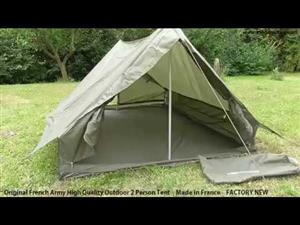 Original French Army Outdoor Military Two Persons Tent - Factory New