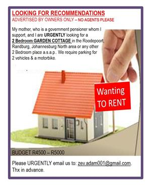 We are preferably looking for a 2 Bedroom  GARDEN COTTAGE in the ROODEPOORT, RANDBURG area to rent