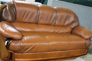 3 piece brown leatherite couches S032333A #Rosettenvillepawnshop