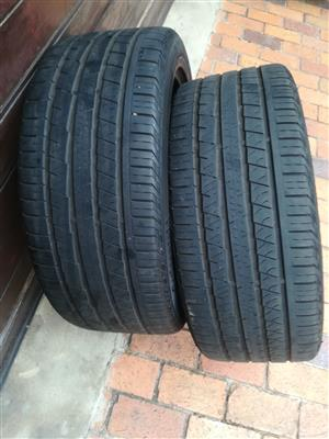 Two used 265/45/21 Continental Cross Contact Tyres