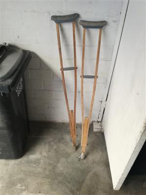 Adjustable wooden crutches