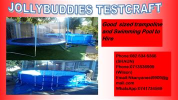 Swimming pool,trampoline and swimming pool to hire