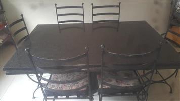 6 seater wrought iron granite indoor/patio set