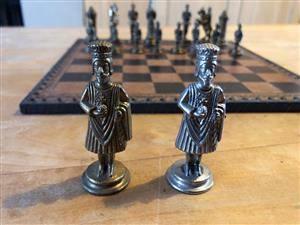 Collectors  Chess set featuring Medieval characters in metal with a velvet lined