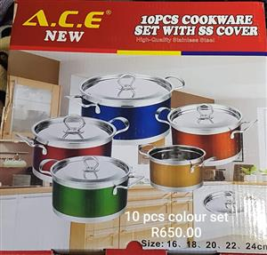 ACE 10 piece colored cookware set for sale