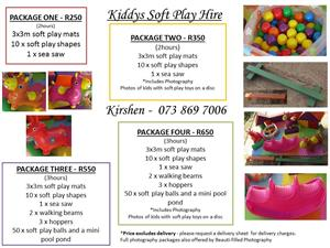 Kiddies SOFT PLAY for Hire & Free PHOTOGRAPHY