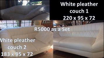 White pleather couches