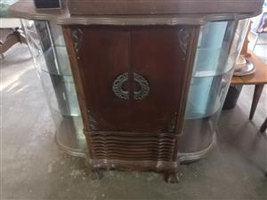 Antique wooden and glass showcase