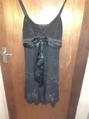 Black summer dress with ribbon