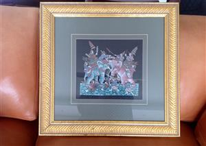 Wall art, silk from Thailand in a beautiful old gold frame R700.00