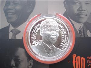 R50 sterling silver Nelson Mandela 100th centenary proof coin