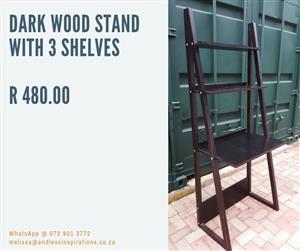 DARK WOOD STAND WITH SHELF