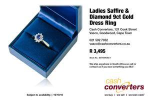 Ladies Saffire & Diamond 9ct Gold Dress Ring