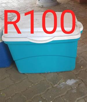 Blue and white cooler box for sale