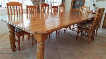 12 Seater Oregon Pine Table and chairs