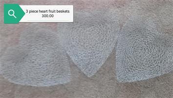 3 Piece heart fruit baskets for sale