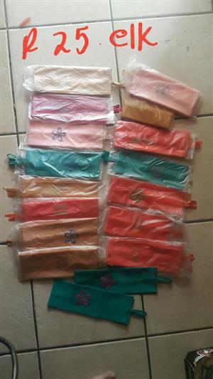 Various colored cutlery bags