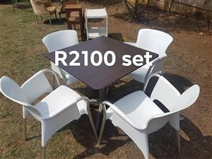 4 White seater wooden patio set