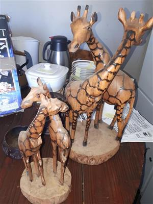 Wooden giraffe ornaments