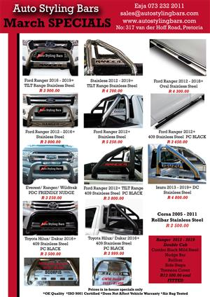 Side Steps, Rollbars, Nudge Bars, Covers and Towbar Specials