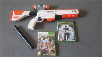 Xbox 360.  Games with gun and bar.  See photos. Very good condition.