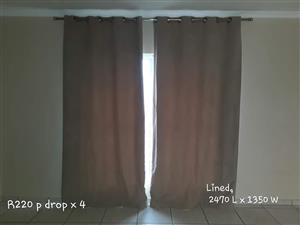 2 Brown lined curtains for sale