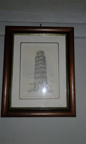 Brown framed tower sketch for sale