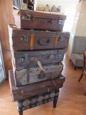 Selection of Antique & Vintage Trunks & Suitcases - price for all 5