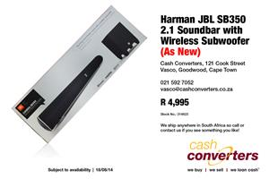 Harman JBL SB350 2.1 Soundbar with Wireless Subwoofer (As New)