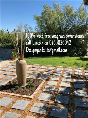 Designyards.garden alterations.instant lawn.paving.stones.topsoil.organic compost. Paving