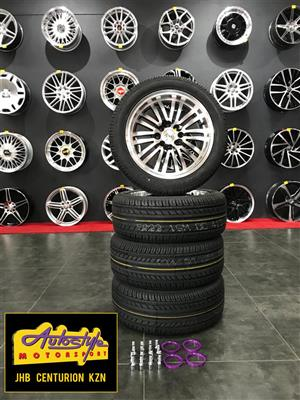 15 inch 4-100 4-108 PCD narrow and wide staggered look mag and tyre combo