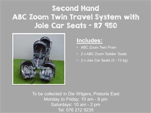 Second Hand ABC Zoom Twin Travel System with Joie Car Seats