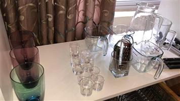 Shot glasses and glass jugs for sale