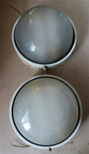 24 Cm wall lights. R100 for both. Globes still inside. Can show you they are working.