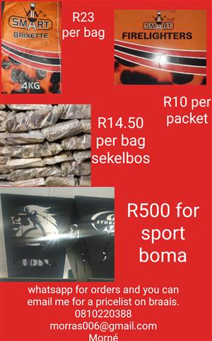 Sekelbos,Briquettes,firelighters and braais