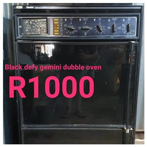 Black Defy gemini double oven for sale